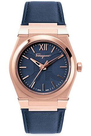 Salvatore Ferragamo Vega Rose Goldtone Stainless Steel Leather-Strap Watch