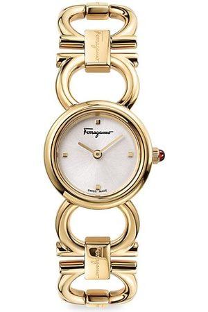 Salvatore Ferragamo Double Gancini Round Yellow Goldtone Stainless Steel Bracelet Watch