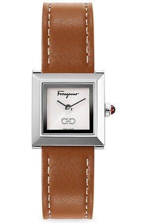 Salvatore Ferragamo Square Silvertone Leather-Strap Watch