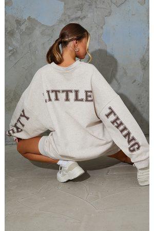 PRETTYLITTLETHING Oatmeal Slogan Oversized Sweat Jumper Dress