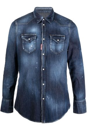 Dsquared2 Icon print distressed denim shirt