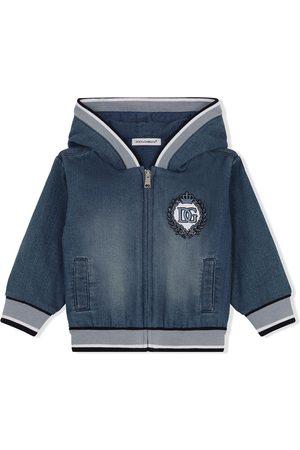 Dolce & Gabbana Hoodies - Logo-embroidered denim hoodie