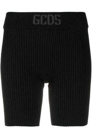 GCDS Ribbed-knit cycling shorts
