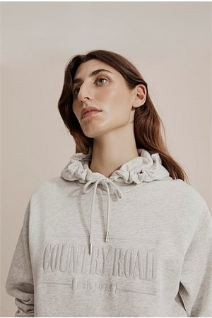 COUNTRY ROAD Verified Australian Cotton Hooded Heritage Sweat - Light Marle