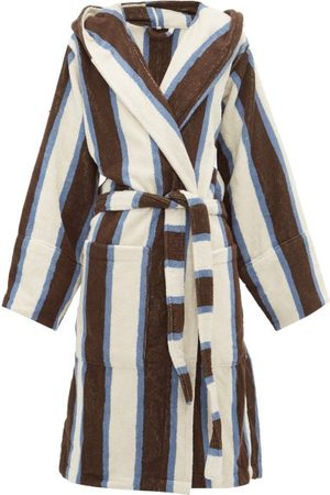 Tekla Hooded Cotton-terry Bathrobe - Womens - Stripe