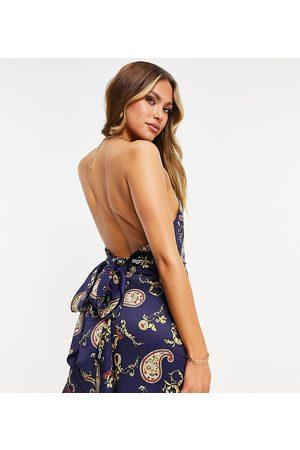 EI8TH HOUR Tie back satin mini dress in navy paisley print-Multi