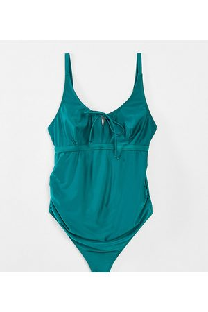Wolf & Whistle Maternity Exclusive swimsuit with tie detail in green