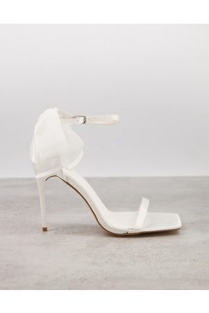 Truffle Collection Bridal barely-there sandals with bow back in white