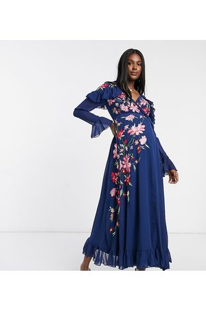 ASOS ASOS DESIGN Maternity embroidered wrap maxi dress with pephem and fluted sleeves in navy