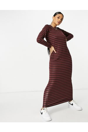 ASOS Long sleeve maxi t-shirt dress in chocolate and black stripe