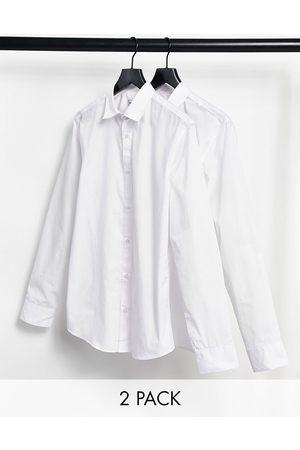 Jack & Jones Essentials 2 pack smart shirt in slim fit white