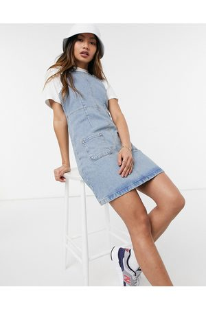 ASOS Denim overall pinny dress in midwash-Blue