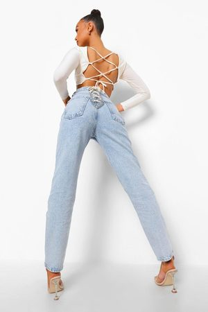 Boohoo Straight Leg Jeans With Lace Up Bottom Detail- Bleach Wash