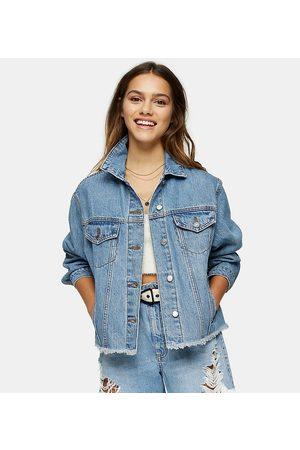 Topshop Oversized denim jacket in mid wash blue-Multi