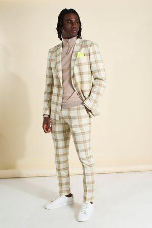 Boohoo Mens Ecru Skinny Check Suit Trouser