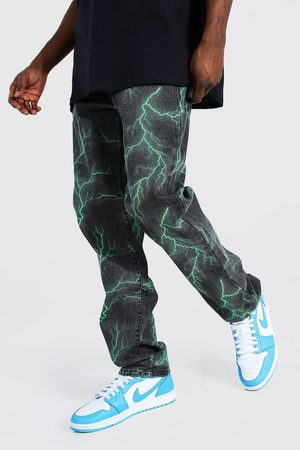 Boohoo Men Bootcut & Flares - Mens Relaxed Fit Lightning Printed Jeans