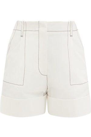 Alexander McQueen Topstitched Cotton-gabardine Shorts - Womens
