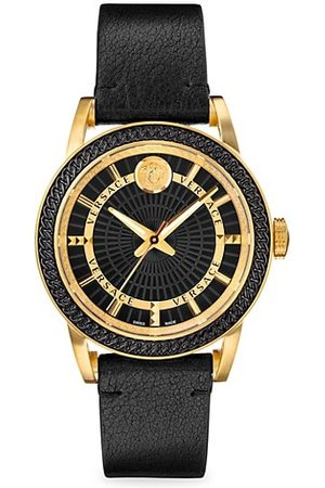 VERSACE Men Watches - Code Goldtone & Leather-Strap Watch