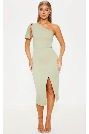 PRETTYLITTLETHING Sage One Shoulder Bow Detail Midi Dress