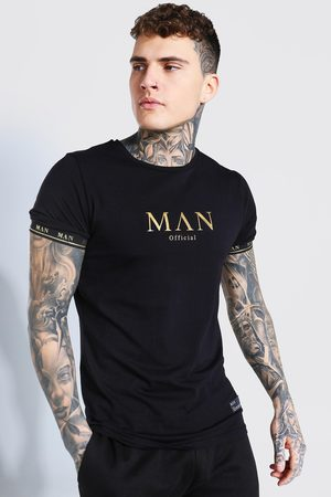 Boohoo Mens MAN Gold T-Shirt With Taped Cuff