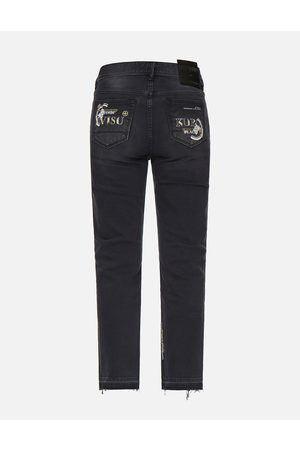 Evisu Women Straight - Slashed Kamon and Logo Embroidered Cropped Straight Fit Jeans