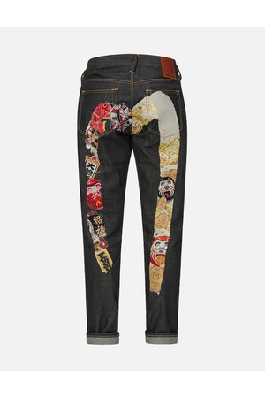 Evisu Contrast Pattern Daicock Embroidered Carrot Fit Jeans #2017