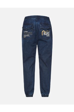 Evisu Men Cargo Pants - Seagull and Logo Embroidered Denim Cargo Joggers
