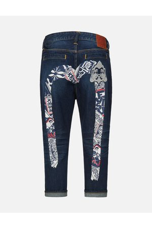 Evisu Festival of Wishes Patterned Daicock Cropped Jeans #2027