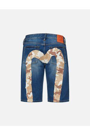 Evisu Men Shorts - Camouflage Brushstroke Daicock Denim Shorts