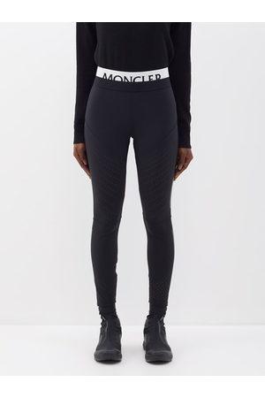 Moncler Logo-waistband Jersey Leggings - Womens - Black