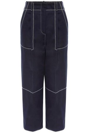 Alexander McQueen Topstitched Cotton-twill Cropped Trousers - Womens - Navy