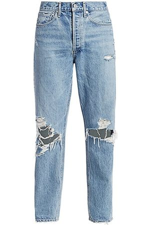 AGOLDE Women Straight - 90s Mid-Rise Loose-Fit Distressed Jeans