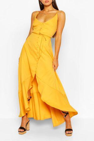 Boohoo Women Maxi Dresses - Frill Drop Hem Belted Maxi Dress