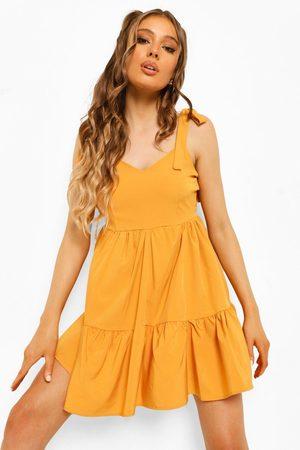 Boohoo Scoop Back Strappy Swing Dress- Mustard