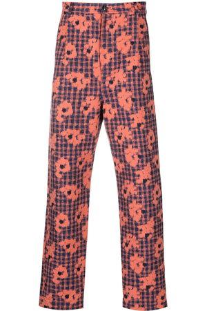 HENRIK VIBSKOV Men Skinny Pants - Floral-print slim-cut trousers