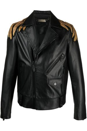 Philipp Plein Golden Eagle embroidered leather jacket