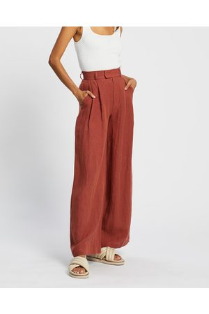 AERE Women Wide Leg Pants - Linen Wide Leg Pants - Pants (Rust) Linen Wide Leg Pants