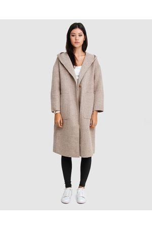 Belle & Bloom Women Coats - Walk This Way Wool Blend Hooded Coat - Coats & Jackets Walk This Way Wool Blend Hooded Coat
