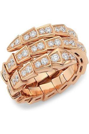 Bvlgari Rings - Serpenti Viper 18K & Pavé Diamond 2-Coil Ring