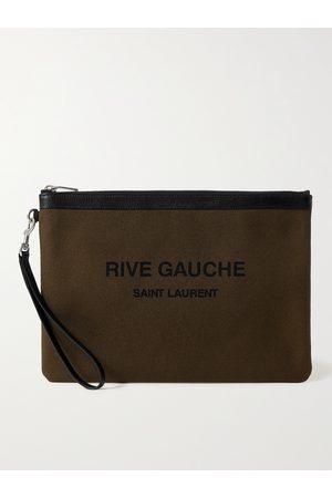 Saint Laurent Leather-Trimmed Logo-Print Canvas Pouch