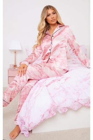 PRETTYLITTLETHING Women Pyjamas - Marble Satin Long PJ Set
