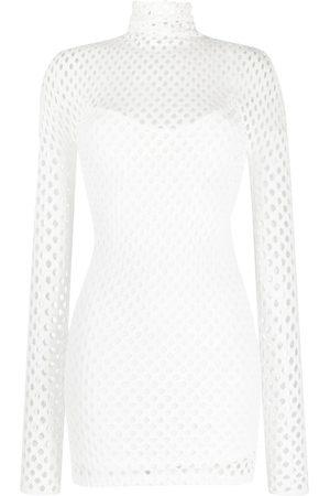 Philipp Plein Mesh-overlay long-sleeve minidress
