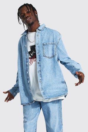 Boohoo Men Long sleeves - Mens Ice Oversized Rigid Long Sleeve Denim Shirt