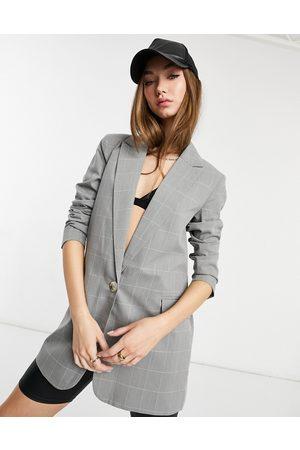 Y.A.S Longline tailored blazer in grey check-Multi