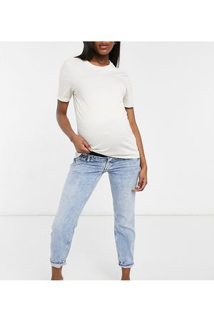 River Island Comfort stretch over-bump mom jeans in mid blue