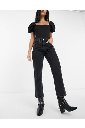 Topshop Editor straight leg jeans in black