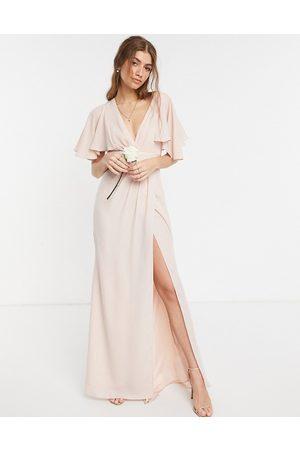 ASOS Bridesmaid flutter sleeve maxi dress with satin trim detail and wrap skirt-Pink