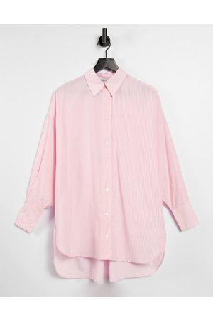 Stradivarius Oversized poplin shirt in pink stripe