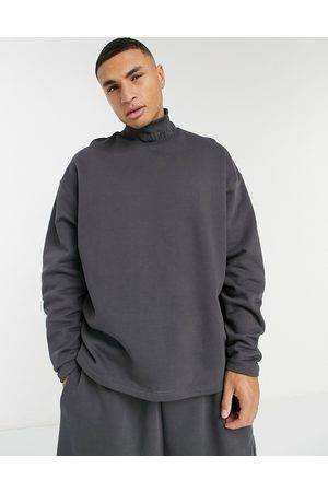 ASOS Co-ord oversized turtleneck sweatshirt in heavyweight with embroidered neck rib-Black