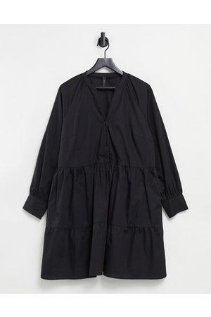 Y.A.S Cotton poplin mini smock dress with v neck in black